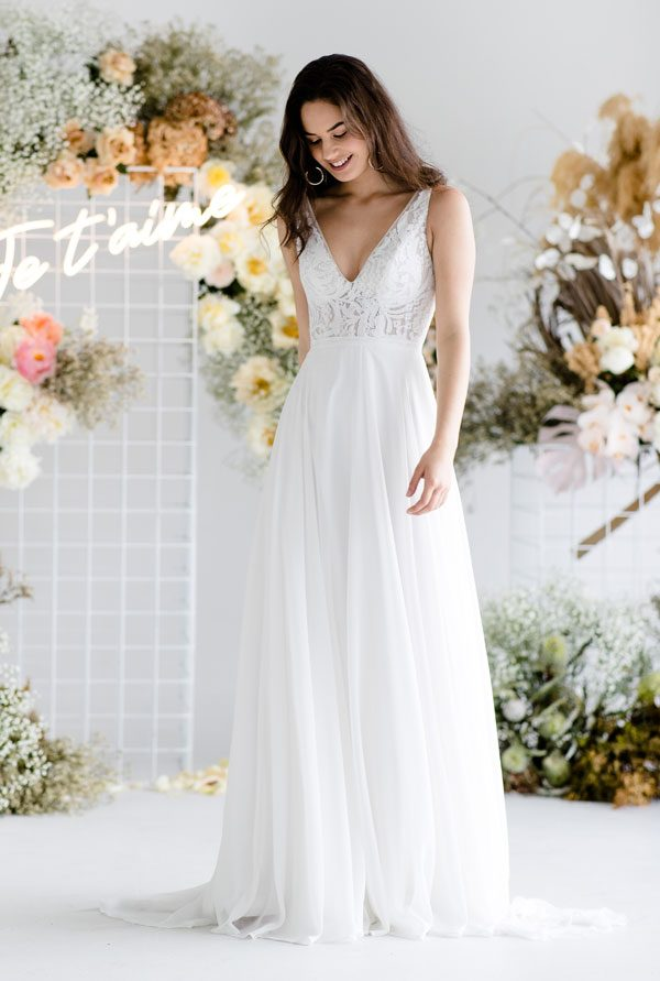 Pixie V-neck wider straps lace wedding dress