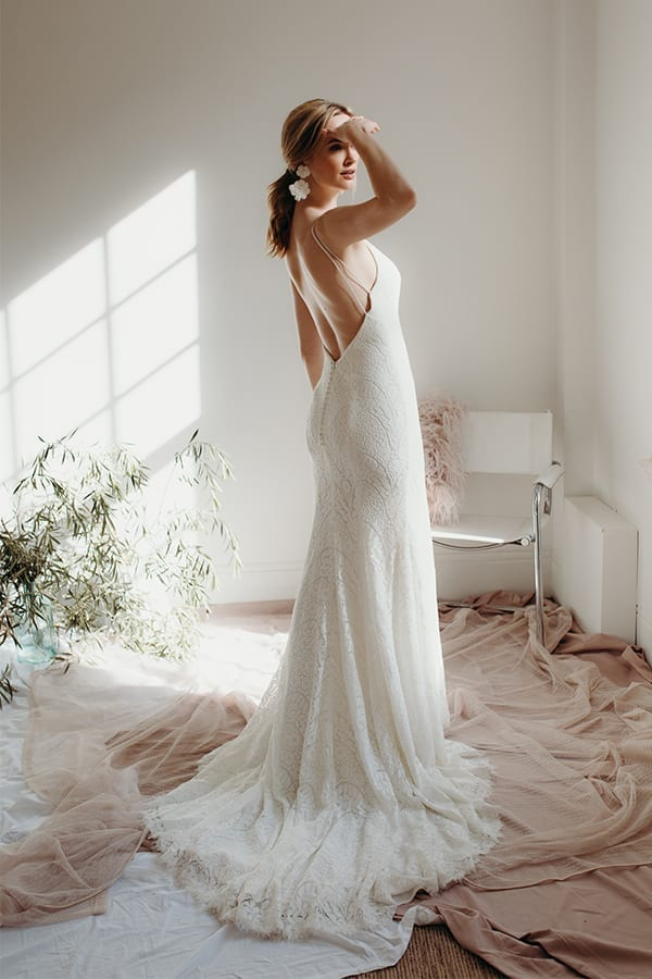 Sand Lily Draped Lace Wedding Dress