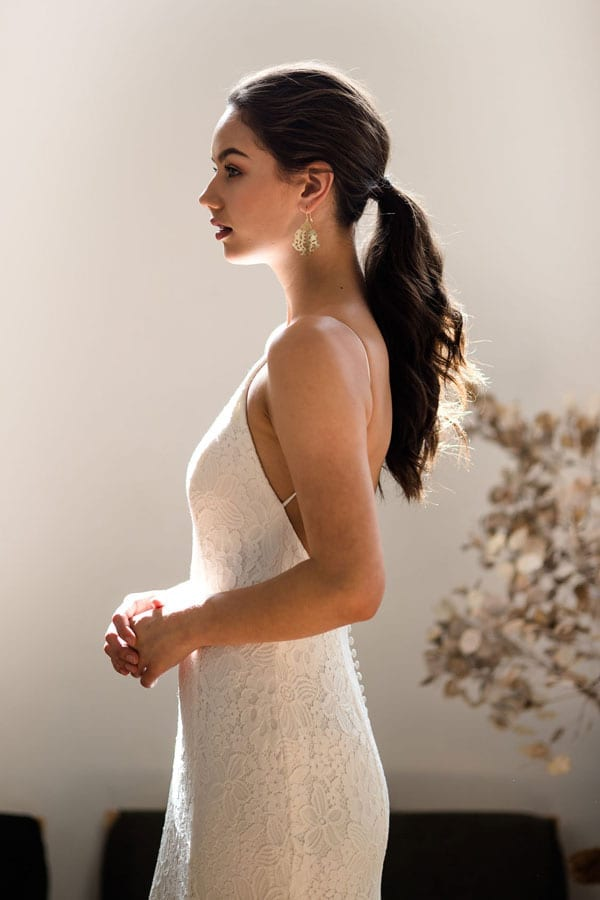 Peony high halter neck wedding dress