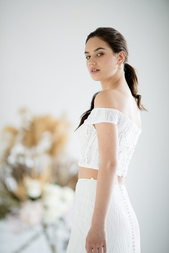 Marguerite off-shoulder textured lace dress