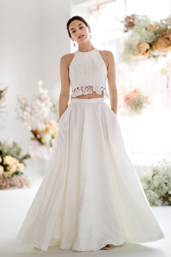 Antonia Top and Freesia Skirt two-piece crop top wedding dress