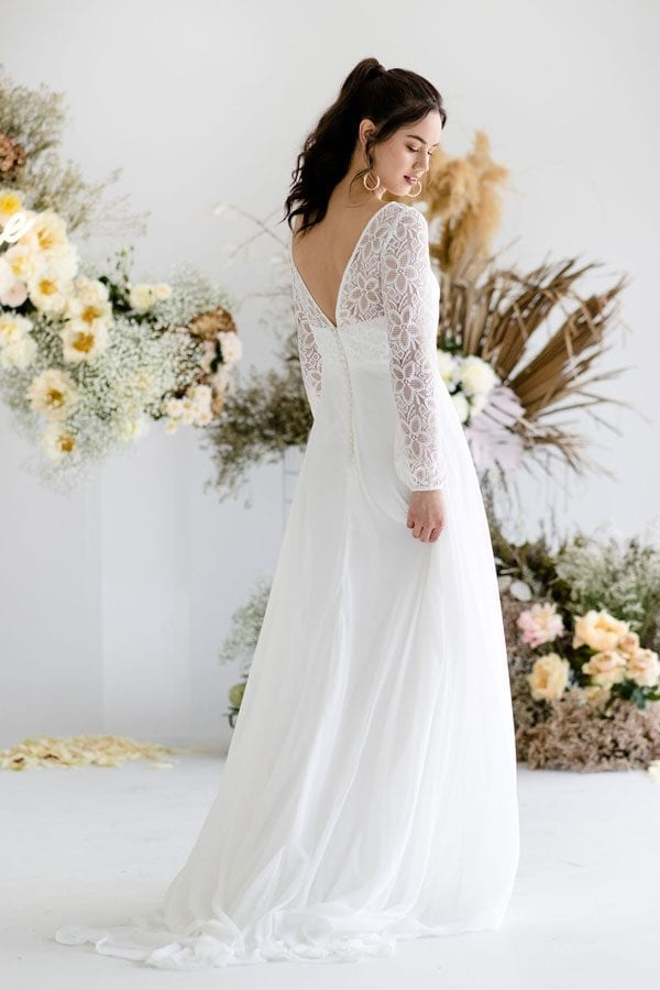 Magnolia long sleeves floral crochet wedding dress