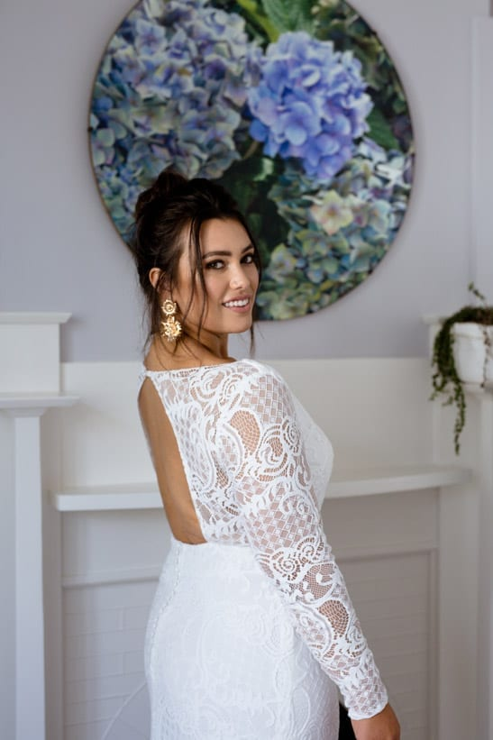 Calla long sleeves sexy back lace wedding dress