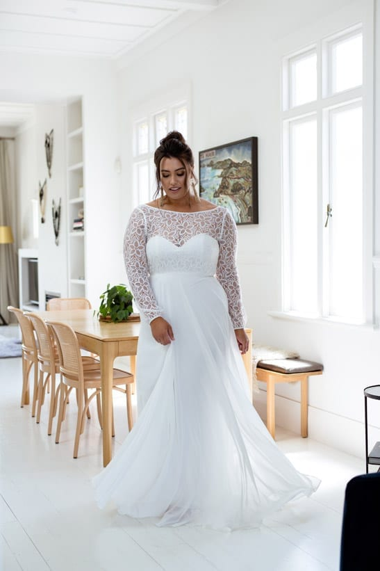 Magnolia long sleeve crochet lace wedding dress