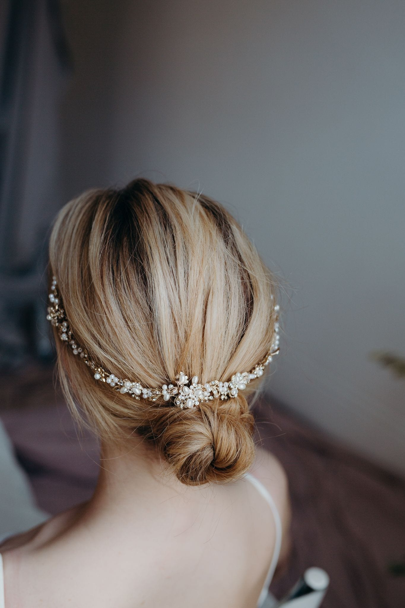 Christelle Gold and Pearl vine Tiara