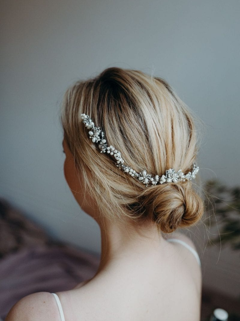 Chloe rhodium and pearl tiara