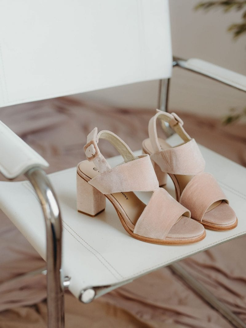 Passion Blush Velvet peep-toe and block heel