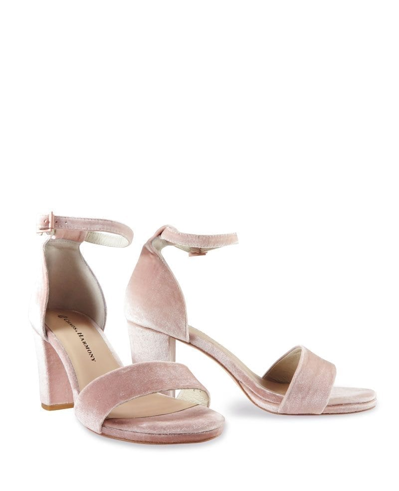 Evermore blush velvet high heel sandals with Evermore-Blush-Ve